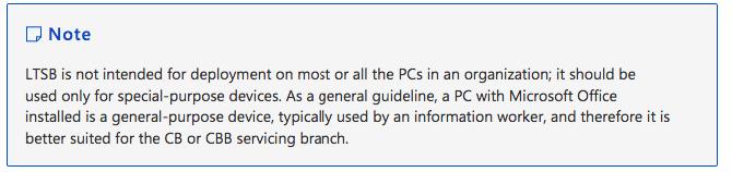 Mitteilung von Microsoft Windows 10 LTSB