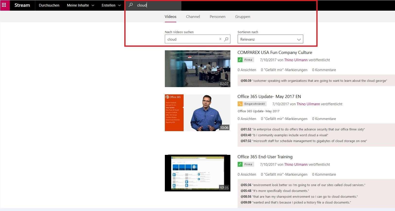 Microsoft Office Stream Beispiel für die transkribierung von Sprache in Text im Suchfeld