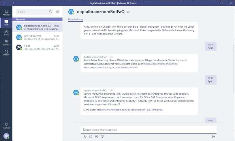Mein QnA Maker ChatBot in der Desktop App von Office 365 Teams