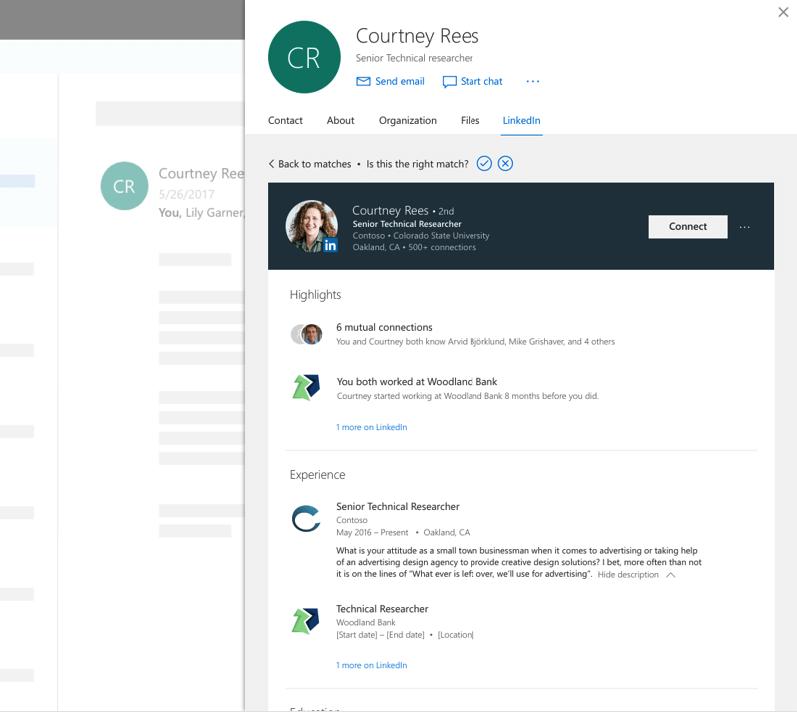 Die Grafik zeigt die Linkedin Integration in Office Kontakten