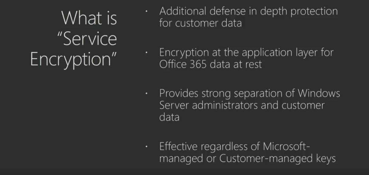 Grafik mit den Funktionen zu Office 365 Bring your own key