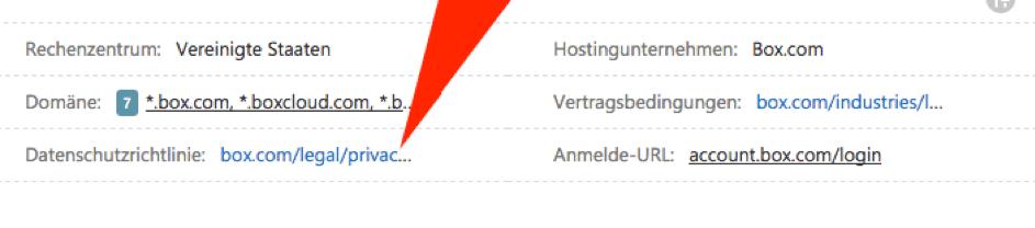 Der Shreenshot zeigt am Beispiel box.com die weiterführenden Informationen zum Datenschutz inklusive Link