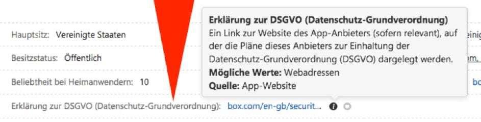 Der Bild zeigt am Beispiel box.com die Informationen zur DSGVO des Herstellers