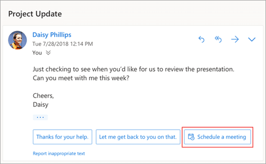Mehrwerte Office 365 Outlook Suggested Reply