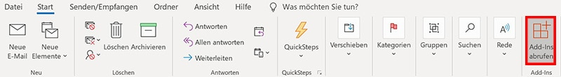 Installationdes Quick Poll Add-In in Microsoft Outlook über die Schaltfläche Add-ins abrufen