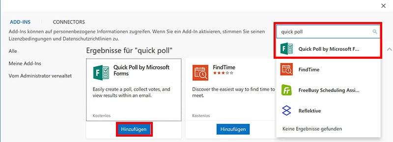 Installationdes Quick Poll Add-In in Microsoft Outlook über die Schaltfläche Add-ins