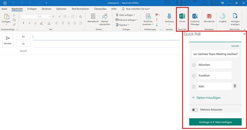 Beispiel für die Nutzung des Umfrage Tools Quick Poll Add-In innerhalb einer E-Mail in Outlook. Erstellung einer Umfrage mit dem Add-In.