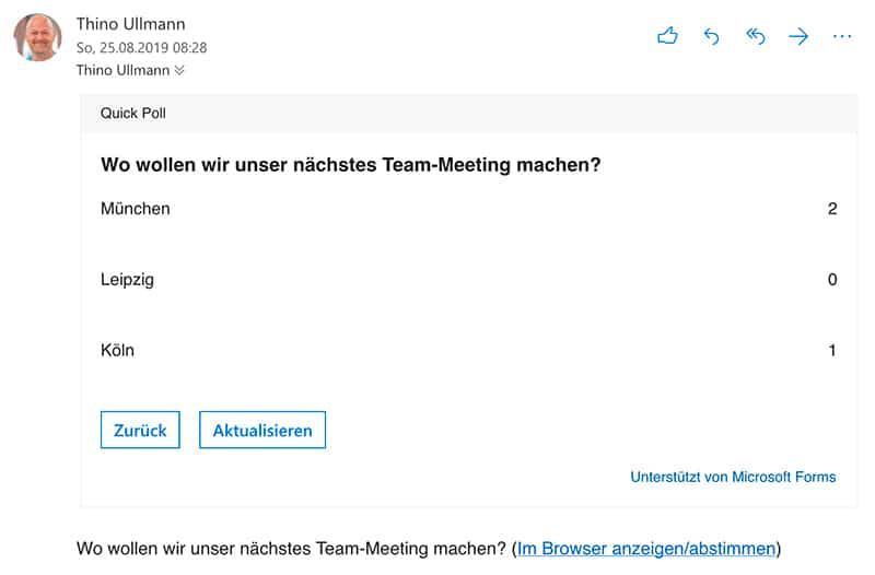 Tools Quick Poll Add-In innerhalb einer E-Mail in Outlook. Ergenisse eine Umfrage anzeigen lassen.